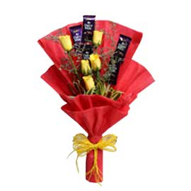 Same day online yellow roses n dairy milk chocolate bunch in kanpur