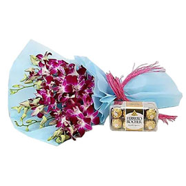 send purple orchids rocher combo paper bunch urgent delivery in Kanpur