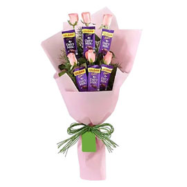 buy pink roses n chocolate bouquet midnight delivery in kanpur