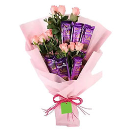 buy pink roses n silk bouquet midnight delivery in kanpur