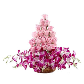 buy pink roses orchids arrangement 24 hrs delivery in Kanpur