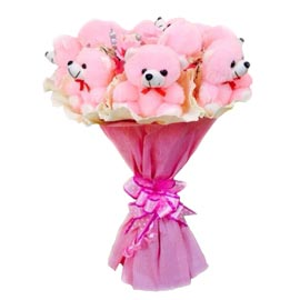 24 hrs online pink teddy bouquet delivery in kanpur