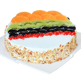 Send online half kg Premium Fresh Fruit Delight cake delivery in kanpur