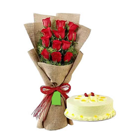 Midnight online butterscotch cake n red roses in vase in kanpur