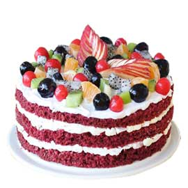 Send online half kg red velvet fruit cake delivery in kanpur