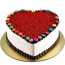 Red Velvet Gems Heart Cake delivery in kanpur