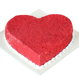 Send online red velvet heart cake delivery in kanpur