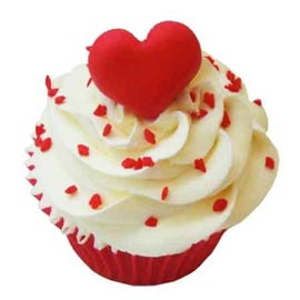 Buy online red velvet heart cup cake delivery in kanpur