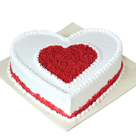 buy online half kg Red White heart cake delivery in kanpur