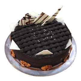 Send online half kg rich chocolate walnut cake delivery in kanpur