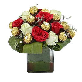 buy rocher n mix roses arrangement urgent delivery in Kanpur