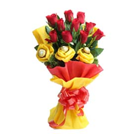 Send online 3 ferrero rocher chocolates n 10 red roses in kanpur