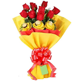 send roses n rocher delight bunch urgent delivery in Kanpur
