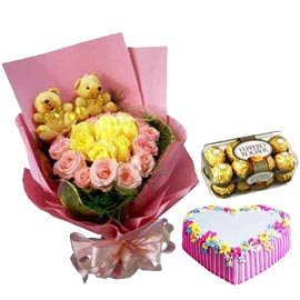 Send online rocher, cake n designer flowersn teddy arrangment in kanpur