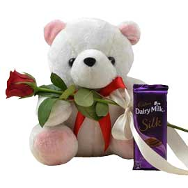 Send online teddy, one silk n one rose birthday combo in kanpur