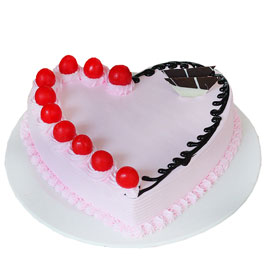 buy online half kg Strawberry heart cake delivery in kanpur