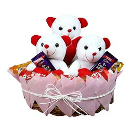 Send online 3 teddy & 10 assorted chocolate in basket delivery in kanpur