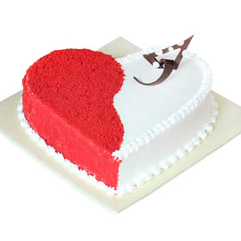 Gift half kg white n red pineapple heart cake online delivery @ kanpurgifts.com