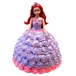 Barbie Doll Roses Cake
