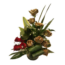 Golden Roses Arrangement